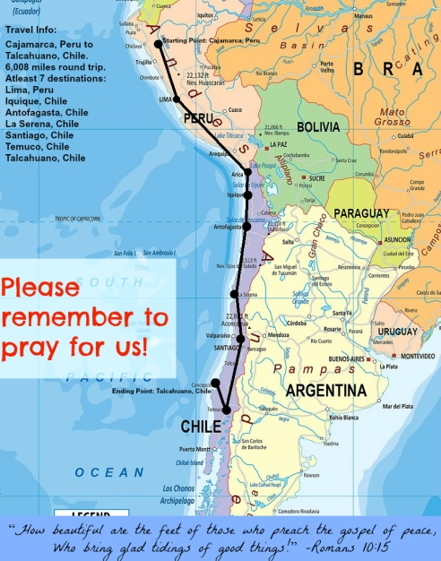 This is our planned missionary journey through Peru and Chile. We hope to serve the Lord in any way He leads, and minister to, and love, each person along the way.