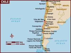Here is a little map that show some of the cities we traveld to. Talcahuano is the sister city of Concepcion, Lanco is near Valdivia, and Lican Ray is near Temuco.